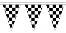 Black and White Check Traditional 20m 50 Flag Polyester Triangle Flag Bunting